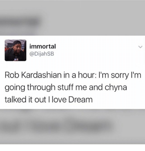 Kardashians, Love, and Memes: immortal  @DijahSB  Rob Kardashian in a hour: I'm sorry I'm  going through stuff me and chyna  talked it out I love Dream