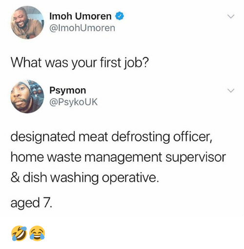 Memes, Waste Management, and Dish: Imoh Umoren  @lmohUmoren  What was your first job?  Psymon  @PsykoUK  designated meat defrosting officer,  home waste management supervisor  & dish washing operative.  aged 7 🤣😂