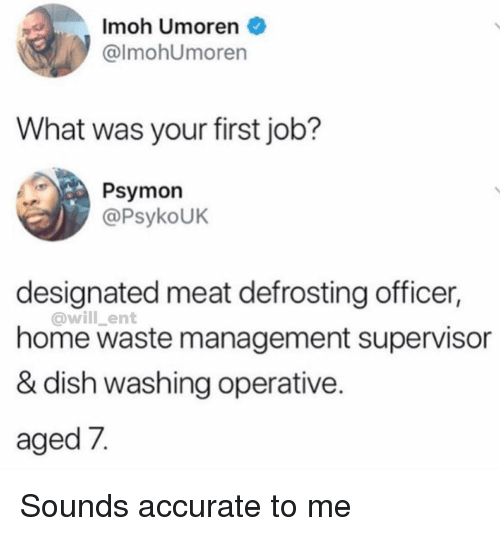 Memes, Waste Management, and Dish: Imoh Umoren  @lmohUmoren  What was your first job?  Psymon  @PsykoUK  designated meat defrosting officer,  @will _ent  home waste management supervisor  & dish washing operative.  aged 7. Sounds accurate to me