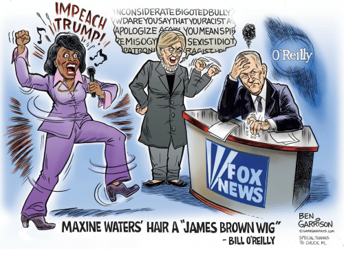 """James Brown, Forwardsfromgrandma, and Chuck: IMP  NCONSIDERATEBIGOTEDBULLY  YOUMEANSPI  A AOLO  EMISOGYE SEXISTIDIO  AAA ORed  FOX  EWS  BEN  o  MAXINE WATERS HAR A JAMES BROWN WIG"""" GARRISON  GRRRGRAPHICS.COM  SPECIAL THANKS  BILL O REILLY  TO CHUCK M."""
