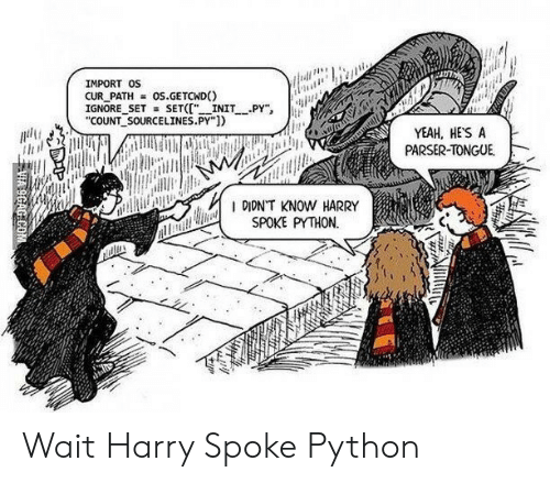 "Yeah, Python, and Harry: IMPORT OS  CUR PATH = OS.GETCWD()  IGNORE SETSET(""INITPY  COUNT SOURCELINES.PY""])  YEAH, HES A  PARSER-TONGUE  I DION'T KNOW HARRY  SPOKE PYTHON. Wait Harry Spoke Python"