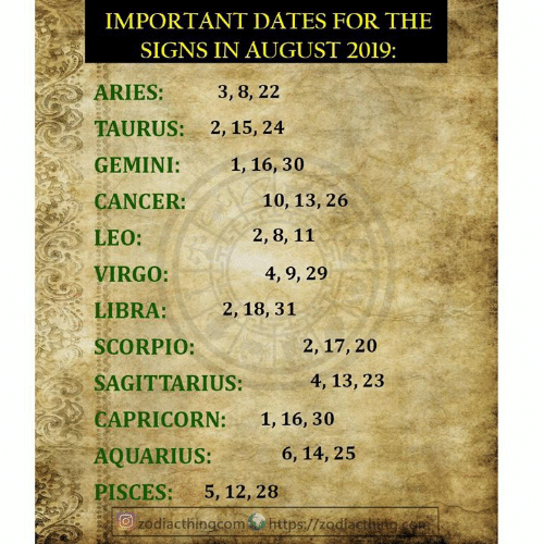 IMPORTANT DATES FOR THE SIGNS IN AUGUST 2019 ARIES 3 8 22
