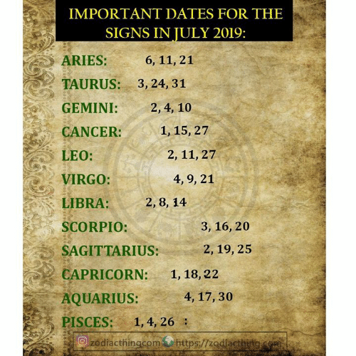 IMPORTANT DATES FOR THE SIGNS IN JULY 2019 ARIES 6 11 21 TAURUS 3 24
