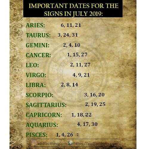 IMPORTANT DATES FOR THE SIGNS IN JULY 2019 ARIES 6 11 21