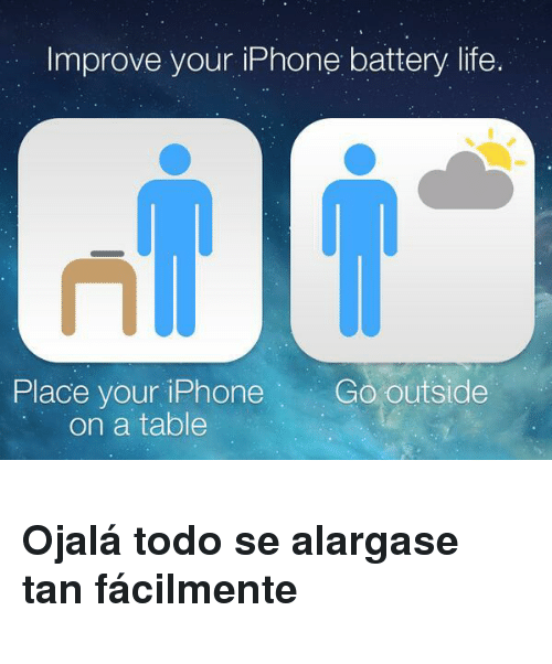 Iphone, Life, and Table: Improve your iPhone battery life.  Place your iPhone Go outside  on a table <h3>Ojalá todo se alargase tan fácilmente</h3>