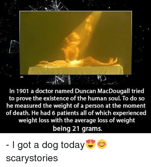 Doctor, Memes, and Death: In 1901 a doctor named Duncan MacDougall tried  to prove the existence of the human soul. To do so  he measured the weight of a person at the moment  of death. He had 6 patients all of which experienced  weight loss with the average loss of weight  being 21 grams. - I got a dog today😍😊 scarystories