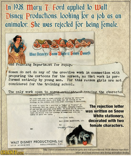 In 193S Mary T Ford Applied To Walt Disney Productions