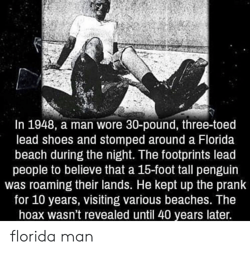 Florida Man, Prank, and Shoes: In 1948, a man wore 30-pound, three-toed  lead shoes and stomped around a Florida  beach during the night. The footprints lead  people to believe that a 15-foot tall penguin  was roaming their lands. He kept up the prank  for 10 years, visiting various beaches. Ihe  hoax wasn't revealed until 40 years later. florida man
