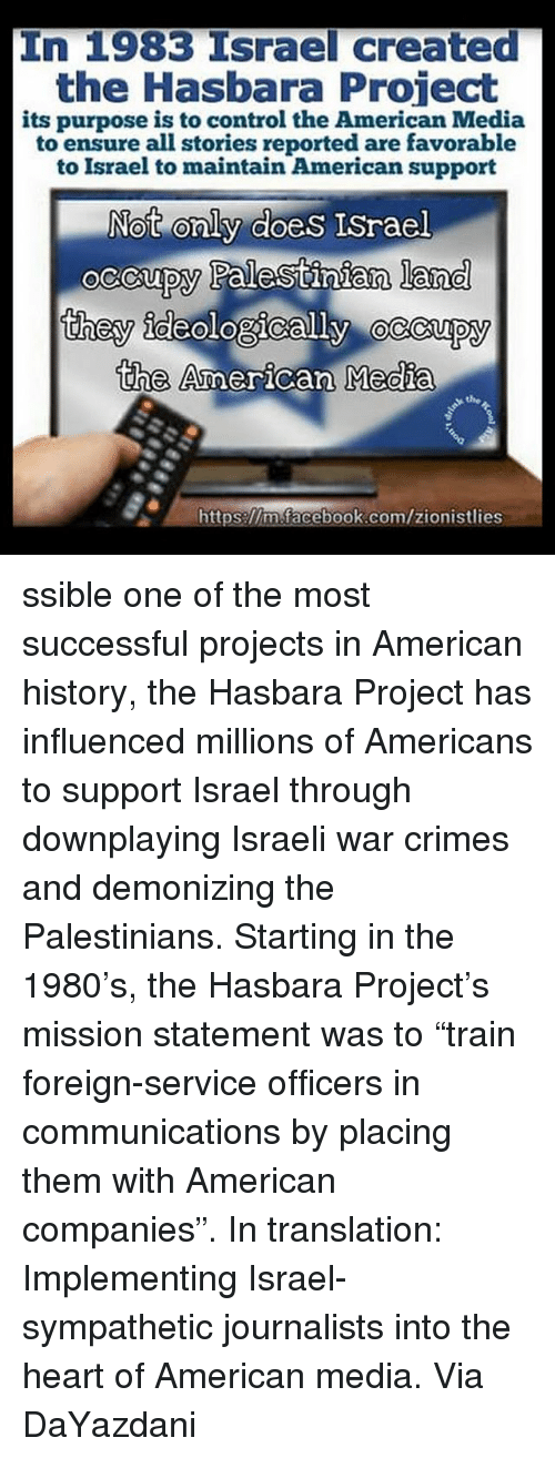 In 1983 Israel Created the Hasbara Project Its Purpose Is to