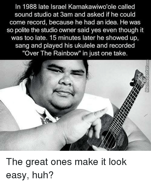 in 1988 late israel kamakawiwoole called sound studio at 3 6111665 ✅ 25 best memes about ukulele ukulele memes,Ukulele Meme