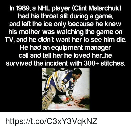 In 1989 A Nhl Player Clint Malarchuk Had His Throat Slit During A