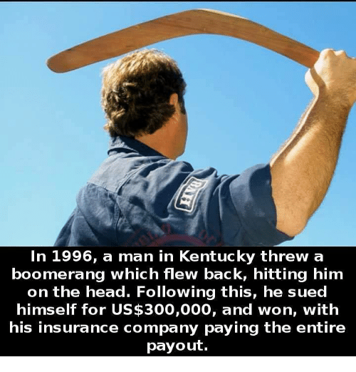 Head, Memes, and 300: In 1996, a man in Kentucky threw a  boomerang which flew back, hitting him  on the head. Following this, he sued  himself for US$300,000, and won, with  his insurance company paying the entire  payout.
