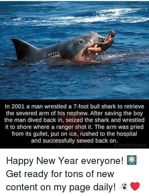Memes, New Year's, and Shark: In 2001 a man wrestled a 7-foot bull shark to retrieve  the severed arm of his nephew. After saving the boy  the man dived back in, seized the shark and wrestled  it to shore where a ranger shot it. The arm was pried  from its gullet, put on ice, rushed to the hospital  and successfully sewed back on. Happy New Year everyone! 🎆Get ready for tons of new content on my page daily! 👻❤️
