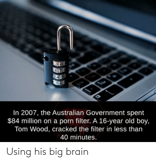 Brain, Cracked, and Old: In 2007, the Australian Government spent  $84 million on a porn filter. A 16-year old boy,  Tom Wood, cracked the filter in less than  40 minutes. Using his big brain