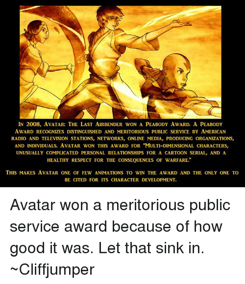 in 2008 avatar the last airbender won a peabody award 21375312 ✅ 25 best memes about avatar the last airbender avatar the