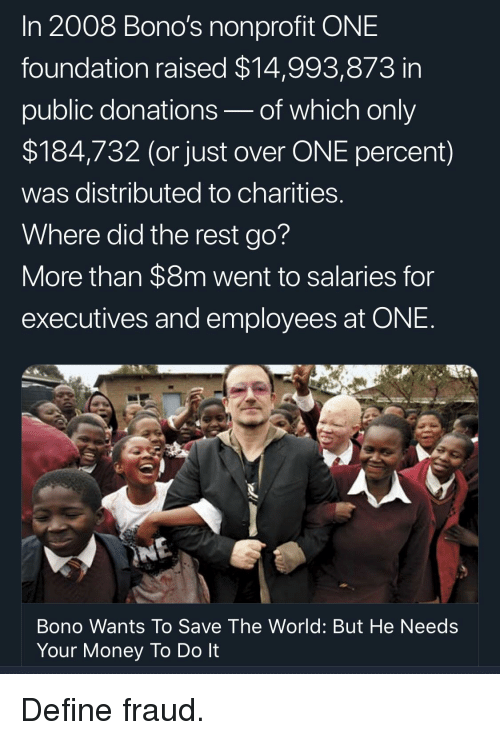 Money, Define, and World: In 2008 Bono's nonprofit ONE  foundation raised $14,993,873 in  public donations-of which only  $184,732 (or just over ONE percent)  was distributed to charities  Where did the rest go?  More than $8m went to salaries for  executives and employees at ONE  Bono Wants To Save The World: But He Needs  Your Money To Do It