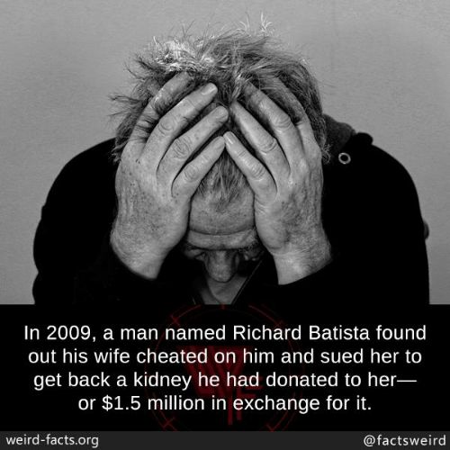 Facts, Memes, and Weird: In 2009, a man named Richard Batista found  out his wife cheated on him and sued her to  get back a kidney he had donated to her  or $1.5 million in exchange for it.  weird-facts.org  @factsweird