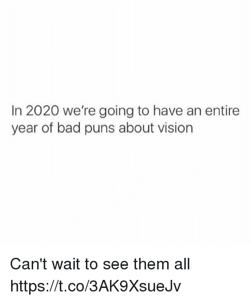 Bad, Puns, and Vision: In 2020 we're going to have an entire  year of bad puns about vision Can't wait to see them all https://t.co/3AK9XsueJv