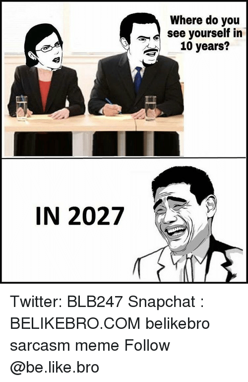 Be Like, Meme, and Memes: IN 2027  Where do you  see yourself in  10 years Twitter: BLB247 Snapchat : BELIKEBRO.COM belikebro sarcasm meme Follow @be.like.bro