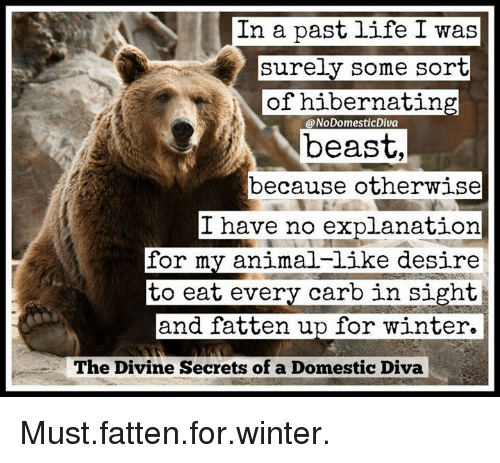 Dank, Winter, and Beastly: In a past life I was  surely some sort  of hibernating  @NoDomestic Diva  beast,  because otherwise  I have no explanation  for my animal-like desire  to eat every carb in sight  and fatten up for winter  The Divine Secrets of a Domestic Diva Must.fatten.for.winter.
