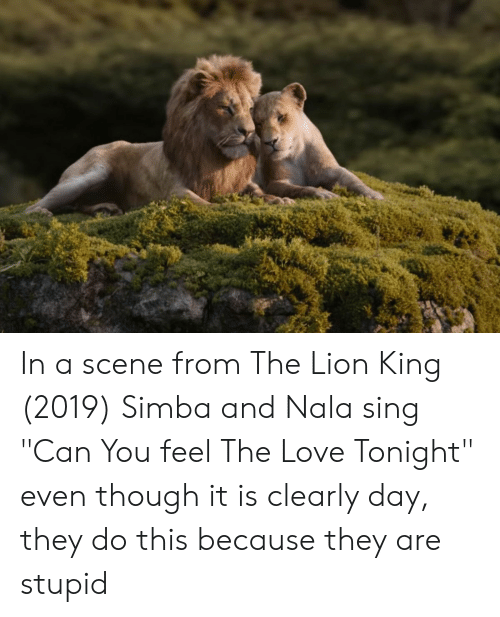In A Scene From The Lion King 2019 Simba And Nala Sing Can