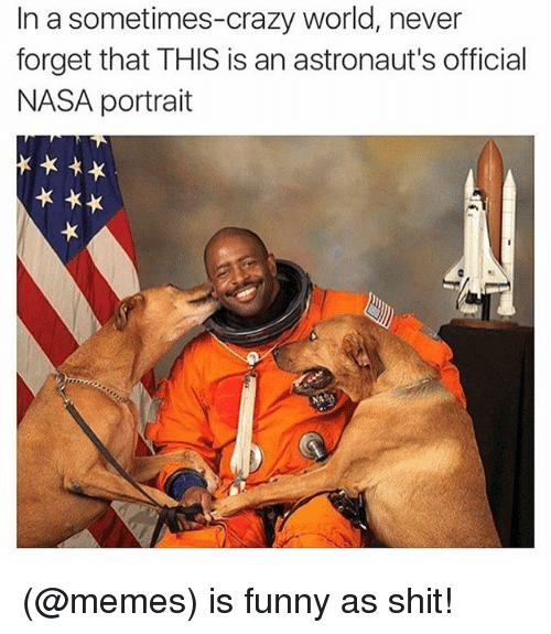 Crazy, Funny, and Meme: In a sometimes-crazy world, never  forget that THIS is an astronaut's official  NASA portrait (@memes) is funny as shit!