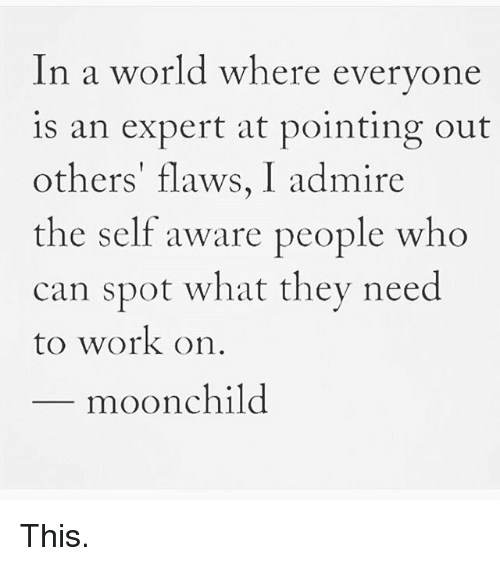 in a world where everyone is an expert at pointing out others flaws