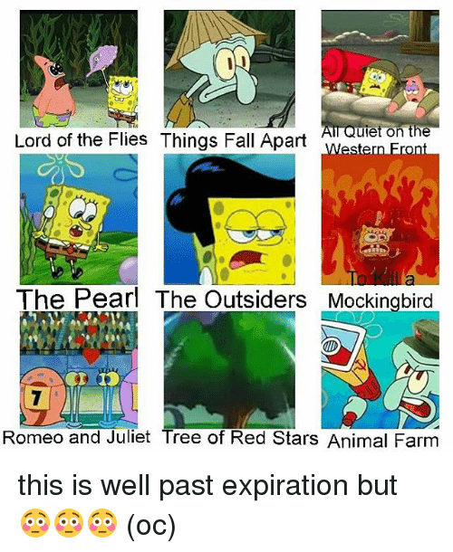 Fall, Memes, and Animal: IN  All Quiet on the  Lord of the Flies Things Fall Apart  The Pearl The Outsiders Mockingbird  Romeo and Juliet Tree of Red Stars Animal Farm this is well past expiration but 😳😳😳 (oc)