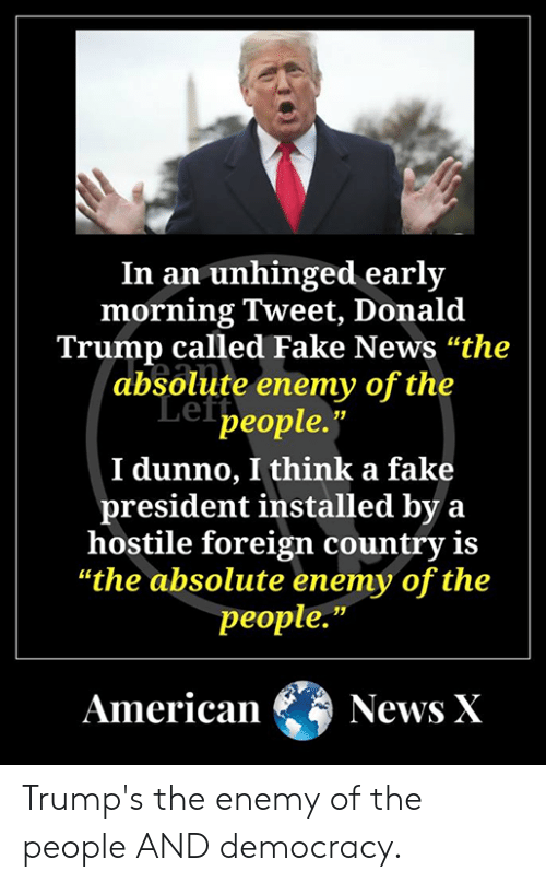 "Donald Trump, Fake, and Memes: In an unhinged early  morning Tweet, Donald  Trump called Fake News ""the  absolute enemy of the  Lef people.""  I dunno, I think a fake  president installed by a  hostile foreign country is  ""the absolute enemy of the  people.""  American News X Trump's the enemy of the people AND democracy."