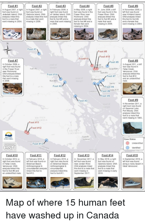 Rocky, Beach, and Canada: In August 2007, a right In August 2007, a right In February 2008, a In May 2008, a right In June 2008, a left In November 2008, a  foot was found on  Jedediah Island. DNA Gabriola Island. DNA on Valdez Island. DNA Fraser River near  analysis linked this  foot to a male that  went missing in 2004. missing in 2006  foot was found on  right foot was found foot was found in the foot was found in the eft foot was found  Fraser River. DNA  analysis linked this  foot to foot #3 and a  near Kirkland Island  DNA analysis linked  this foot to foot #4  and a female that  went missing in 2004  Richmond. DNA  analysis linked this foot analysis linked this  to a male that went  foot to foot #5 and a | | analysis linked this  male that went missing | | foot to foot #6 and a  | | male that went  missing in 2006  female that went  missing in 2004  Foot #1  Foot #8  Foot #10  Foot#15  Footー  Foot-  In October 2009, a  right foot was found  in the Fraser River  near Richmond  DNA analysis linked  this foot to a male  that went missing  In August 2011, a left  foot was found in  cover  CoquitlamFalse Creek  Vancouver. DNA  analysis linked this  foot to foot #10  and an unidentified  Vancouver  Foot #14  Foot #7  Richmond  Nanatmo  Foot #2  Foot #4  CANAL  Foot #6  Foot #5  Foot #3  In November 2011, a  right boot was found  on Sasamat Lake  Port Moody. DNA  analysis linked this  foot to a male that  went missing in 1985  ERITISH  COLUMB1  Foot #11  Foot #12  LUMBEA  Case Status  Foot #13  Unidentified  Identified  Foot #13  Foot#15  eft foot was found  West Vancouver.  Foot#10  Foot #12  In October 2012, aIn February 2016, a  right foot was foundleft foot was found on  in False Creek  Vancouver. DNA  analysis linked this  foot to foot #8 and  an unidentified male, foot # 12.  February 2016,n December 2017, aIn May 2018, a rightIn September 2018, a  right foot was found left foot was found  on Botanical Beach. near Jordan River  Anthropological &  foot was foun