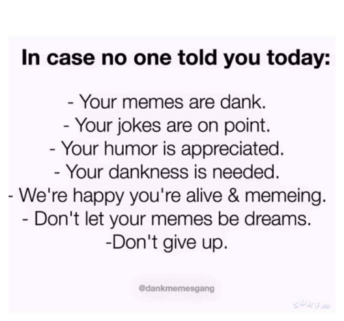 Alive, Dank, and Memes: In case no one told you today:  Your memes are dank  Your jokes are on point.  Your humor is appreciated  Your dankness is needed  We're happy you're alive & memeing  Don't let your memes be dreams.  Don't give up  @dankmemesgang