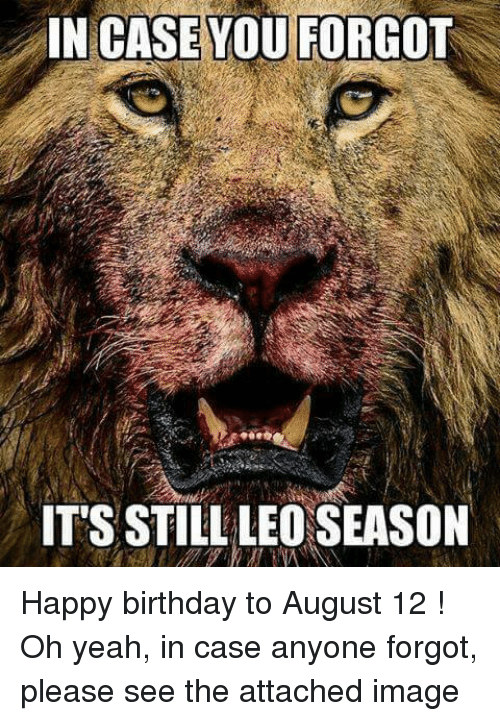 Birthday, Yeah, and Happy Birthday: IN CASE YOU FORGOT  IT'S STILL LEO SEASON Happy birthday to August 12 !   Oh yeah, in case anyone forgot, please see the attached image