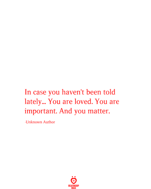 Been, Case, and Unknown: In case you haven't been told  latel... You are loved. You are  important. And you matter.  Unknown Author  RELATIONSHIP  RILES