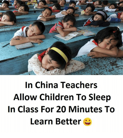 Children, China, and Sleep: In China Teachers  Allow Children To Sleep  In Class For 20 Minutes To  Learn Better