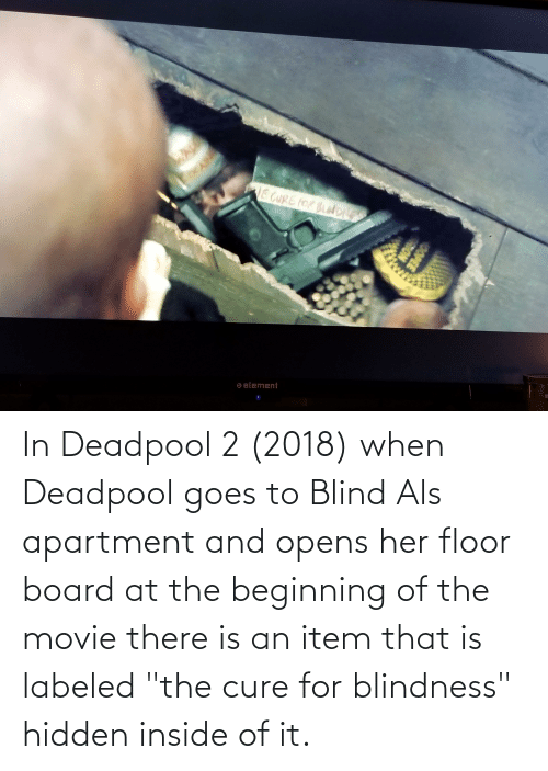 """Deadpool, Movie, and Board: In Deadpool 2 (2018) when Deadpool goes to Blind Als apartment and opens her floor board at the beginning of the movie there is an item that is labeled """"the cure for blindness"""" hidden inside of it."""