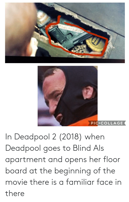 Deadpool, Movie, and Board: In Deadpool 2 (2018) when Deadpool goes to Blind Als apartment and opens her floor board at the beginning of the movie there is a familiar face in there