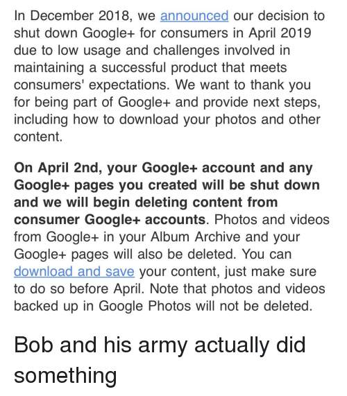 In December 2018 We Announced Our Decision to Shut Down Google+ for