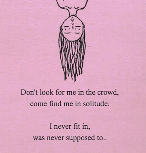 Never, Solitude, and Fit: In  Don't look for me in the crowd,  come find me in solitude.  I never fit in  was never supposed to.