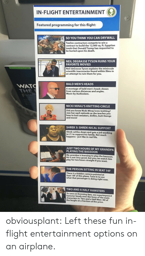 Butt, Donald Trump, and Family: IN-FLIGHT ENTERTAINMENT  Featured programming for this flight:  SO YOU THINK YOU CAN DRYWALL  Twelve contractors compete to win a  contract to build the 12,000 sq. ft. Egyptian  tomb that Donald Trump has requested to  be buried upon his death.  NEIL DEGRASSE TYSON RUINS YOUR  FAVORITE MOVIES  Neil deGrasse Tyson explains the miniscule  scientific inaccuracies found within films in  an attempt to ruin them for you.  BALD MEN'S HEADS  WATC  THE  FLXZ  A montage of bald men's heads shown  from various distances and angles.  Music by Audioslave.  NICKI MINAJ'S KNITTING CIRCLE  Did you know Nicki Minaj loves knitting?  Join her each episode as she teaches you  how to knit sweaters, doilies, butt thongs  and more!  SHREK 5: SHREK-NICAL SUPPORT  Shrek settles down and gets a job working  in I.T. to support his family. Not much  happens-just like in real life.  JUST TWO HOURS OF MY GRANDPA  PLAYING THE BASSOON  My grandpa is learning to play the bassoon.  He is not very good, but you can watch him  play for two hours straight if you want.  THE PERSON SITTING IN SEAT 14F  There is a hidden camera pointed at  Seat 14F of this plane. Tune in to see  what that passenger is doing right now.  TWO AND A HALF HAMSTERS  To save on licensing fees, we superimposed  hamster heads over the faces of the main  characters in Two and a Half Men. All of  the laughs at a fraction of the price. obviousplant:  Left these fun in-flight entertainment options on an airplane.