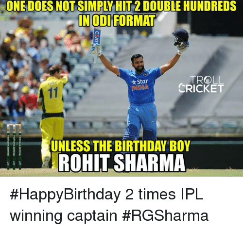 Birthday, God, and Memes: IN GOD FORMAT  TROLL  Star  CRICKET  UNLESS THE BIRTHDAY BOY  ROHIT SHARMA #HappyBirthday 2 times IPL winning captain #RGSharma  <mad>