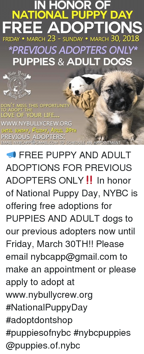 In HONOR OF NATIONAL PUPPY DAY FREE ADOPTIONS FRIDAY MARCH