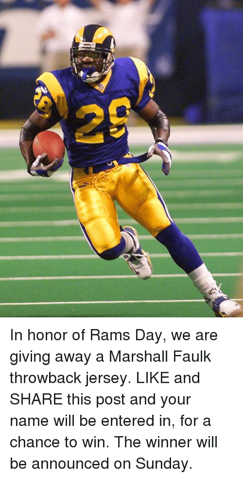 half off 49167 29373 In Honor of Rams Day We Are Giving Away a Marshall Faulk ...