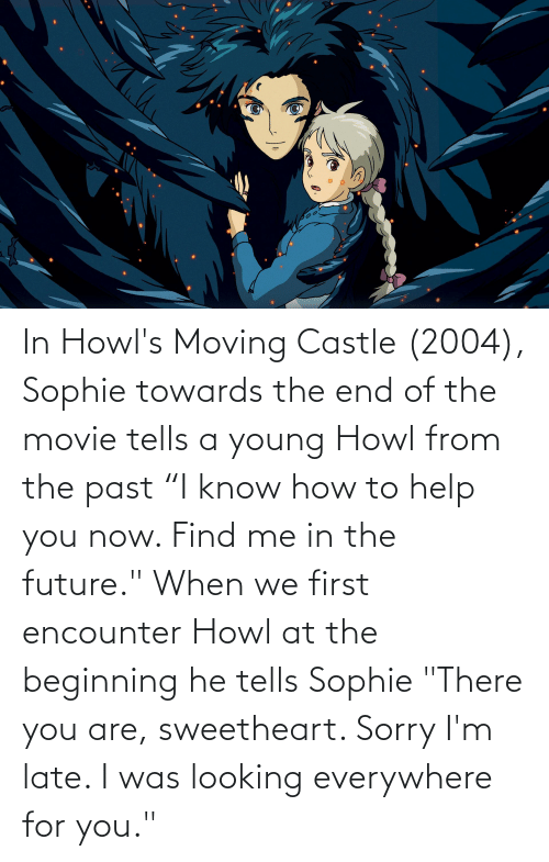 In Howl S Moving Castle 2004 Sophie Towards The End Of The Movie Tells A Young Howl From The Past I Know How To Help You Now Find Me In The Future When