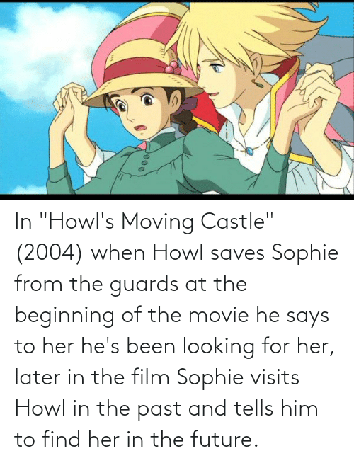"""Future, Movie, and Film: In """"Howl's Moving Castle"""" (2004) when Howl saves Sophie from the guards at the beginning of the movie he says to her he's been looking for her, later in the film Sophie visits Howl in the past and tells him to find her in the future."""