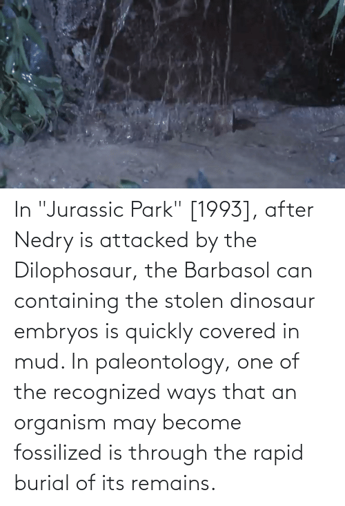 """Dinosaur, Jurassic Park, and Jurassic: In """"Jurassic Park"""" [1993], after Nedry is attacked by the Dilophosaur, the Barbasol can containing the stolen dinosaur embryos is quickly covered in mud. In paleontology, one of the recognized ways that an organism may become fossilized is through the rapid burial of its remains."""