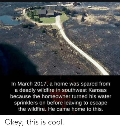 Cool, Home, and Southwest: In March 2017, a home was spared from  a deadly wildfire in southwest Kansas  because the homeowner turned his water  sprinklers on before leaving to escape  the wildfire. He came home to this. Okey, this is cool!