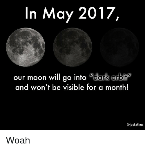 In May 2017 Our Moon Will Go Into Dark Orbit and Won't Be Visible