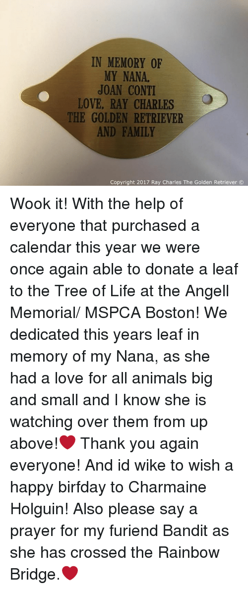 Memes, Calendar, and Golden Retriever: IN MEMORY OF  MY NANA.  JOAN CONTI  LOVE, RAY CHARLES  THE GOLDEN RETRIEVER  AND FAMILY  Copyright 2017 Ray Charles The Golden Retriever Wook it! With the help of everyone that purchased a calendar this year we were once again able to donate a leaf to the Tree of Life at the Angell Memorial/ MSPCA Boston! We dedicated this years leaf in memory of my Nana, as she had a love for all animals big and small and I know she is watching over them from up above!❤ Thank you again everyone! And id wike to wish a happy birfday to Charmaine Holguin! Also please say a prayer for my furiend Bandit as she has crossed the Rainbow Bridge.❤
