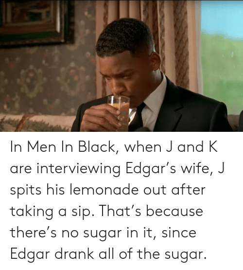In Men In Black When J And K Are Interviewing Edgars Wife J