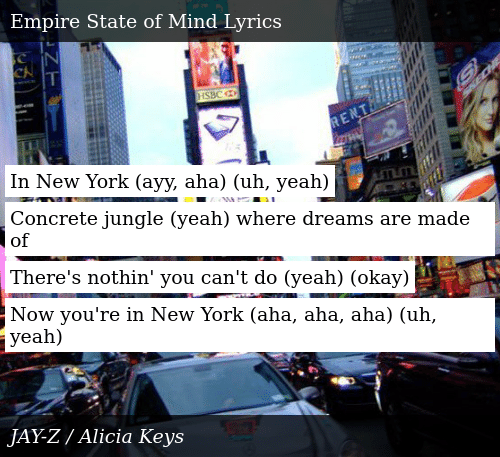 in new york where dreams are made of lyrics
